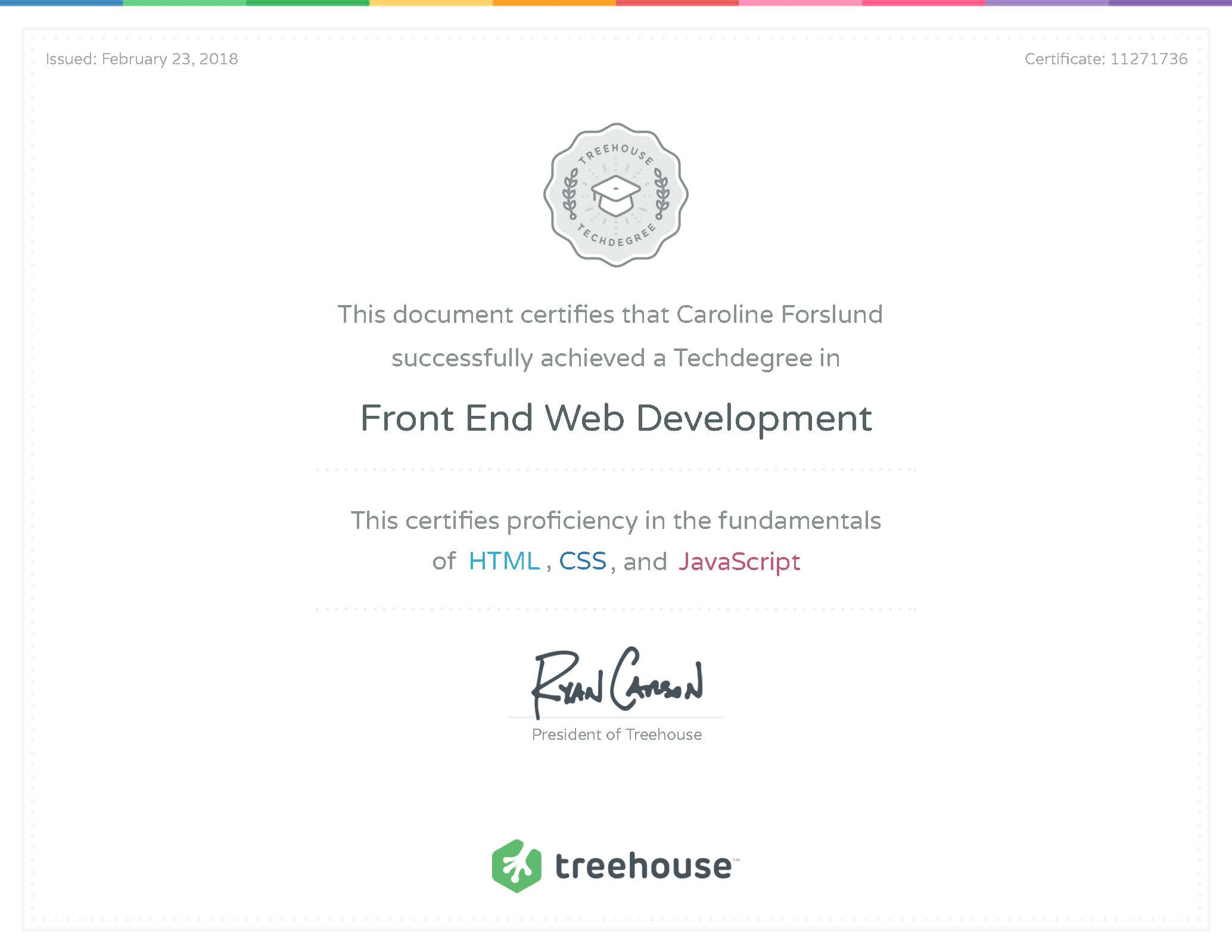 Front End Web Development Certificate from Team Treehouse