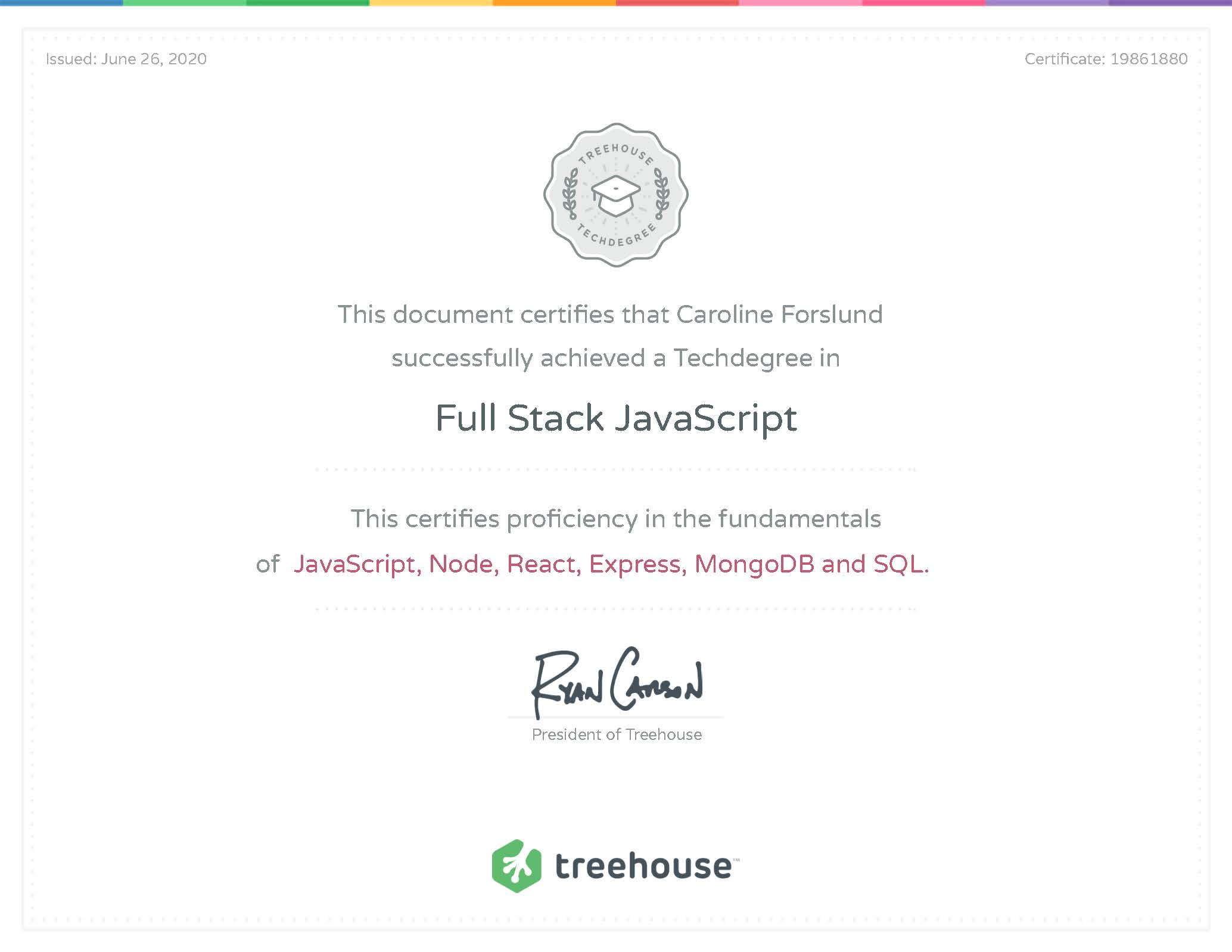 Full Stack JavaScript Certificate from Team Treehouse